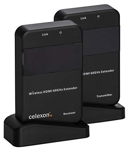 celexon Expert HDMI-Funk-Set WHD30M | Kabellose Übertragung von Bild und Ton vom Abspielgerät auf Projektor oder Display | Unterstützt Auflösungen von VGA bis WUXGA | TV-Formate 480i/576i bis 1080p@60HZ | Unterstützt 3D Video