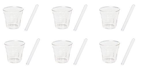 Seletti Tasses à café et Agitateurs, verre, transparent, lot de 6