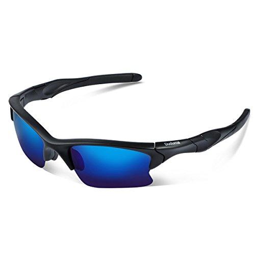 Duduma Gafas de Sol Deportivas Polarizadas Perfectas Para Esquiar Golf Correr Ciclismo TR566 Súper Liviana Para Hombre y Para Mujer (marco mate negro con lente azul)
