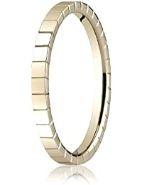 14ct Yellow Gold, 2mm High Polished Carved Band With Groove Design (sz H to Z5)