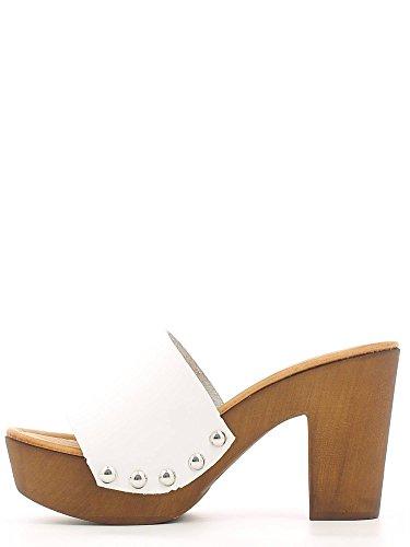 Grünland SAND CI1192 sandale blanche plateaux talon du sabot Bianco