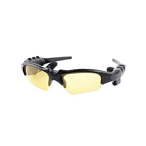 ROKOO Smart Gläser Bluetooth Kopfhörer Sonnenbrille Wireless Stereo für Sport Outdoor, Gelb