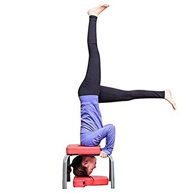 GOTOTOP Yoga Inversion Stuhl, Yoga Stuhl Headstand Inversion Bank Kopfsteher Fitness Kit Rot?43 * 44 * 36.5cm