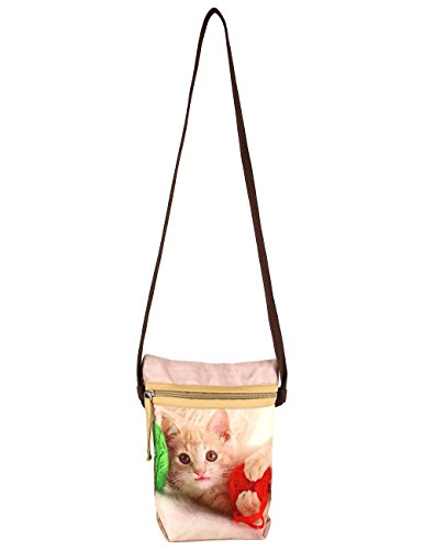Indiano Digital Graphic Pussy Cat Viso Corpo Croce Satchel Handbag - Adorabile stampa all-over - Poliestere Dupion Faux Seta - 8 x 10 x 2,5 pollici