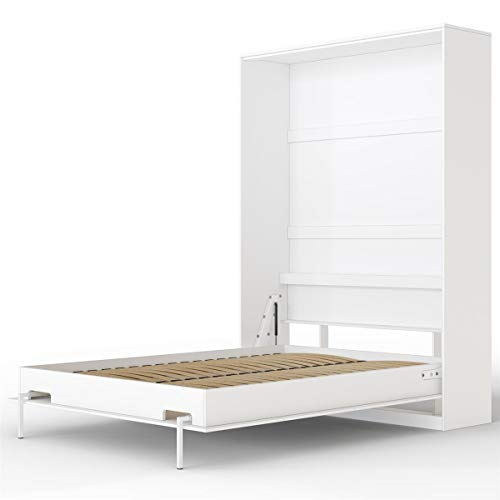 SMARTBett Basic 140x200 Vertikal Weiss Schrankbett | ausklappbares Wandbett, ideal geeignet als Wandklappbett fürs Gästezimmer, Büro, Wohnzimmer, Schlafzimmer