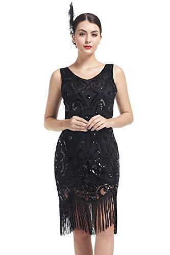 KILOLONE 1920er Jahre Paillettenkleid Gatsby Kleid Damen Quaste Fransen Perlen Flapper Kleid