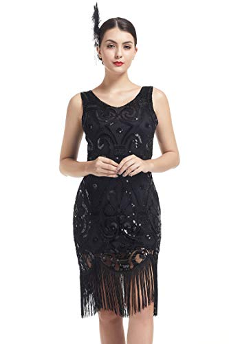 e Paillettenkleid Gatsby Kleid Damen Quaste Fransen Perlen Flapper Kleid ()
