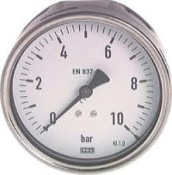 """Manometer mit Anschluss hinten, Chromnickel / Überdruck, G 1/2"""" B hinten, 0,2, 0 bis 10"""