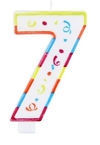 Vela de Cumpleaños Número 7 con Divertidos Colores