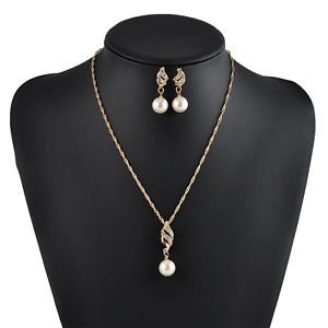 SLB Works Brand New Bridal Jewelry Set Imitation Pearl Crystal Wedding Necklace...