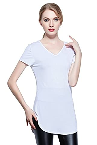 Coreal T-shirt Woman V-neck Short Sleeve Tee Shirt Ladies Casual Top White S