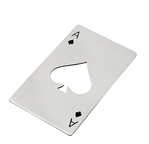 Französisch Geldbörse Damen Brieftasche (Poker Karte Pik Ass aus Edelstahl Drehverschlussöffner Flaschenöffner Soda Bier Elegantes Geschenk)