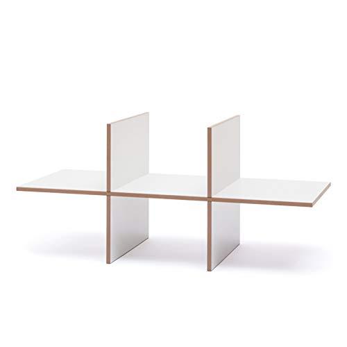 Tojo Hochstapler I Einsatz Modul mit 6 Fächern für modulares Regalsystem I Individuelles Wandregal, Bücherregal, CD Regal I Erweiterung für MDF Regal I Farbe Weiß I Doppelt (2X) -