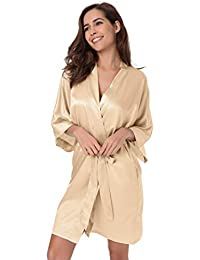 SIORO Womens Dressing Gown-Silk Satin Ladies Bathrobe 2698c338a