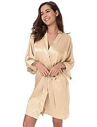 SIORO Womens Dressing Gown-Silk Satin Ladies Bathrobe c85a9afb6