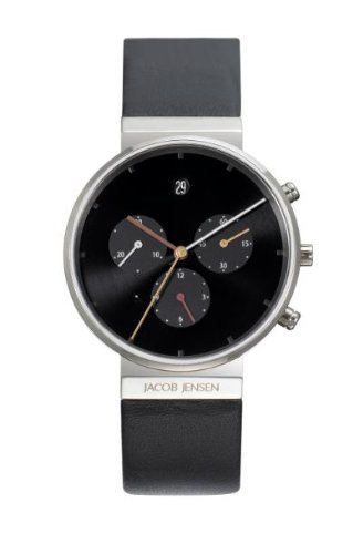 Jacob Jensen Chronograph Series Unisex Quartz Watch with Black Dial Chronograph Display and Black Leather Strap 603
