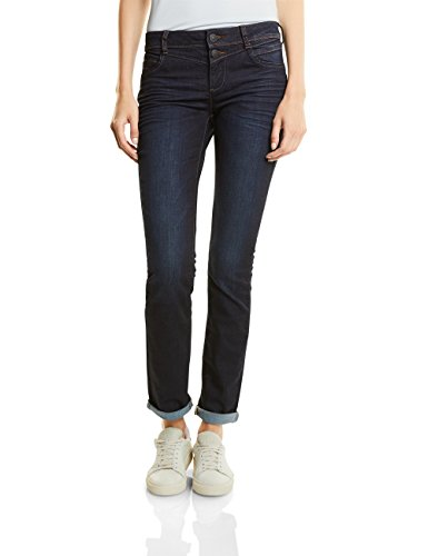 Street One Damen Jane Straight Jeans, Dark Blue Rinsed Optic, W26/L30 Damen Jeans Dark Denim