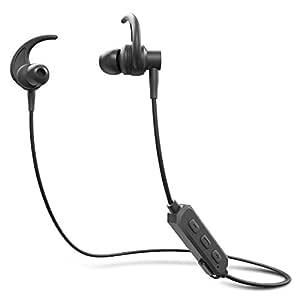 ADL Footloose X4 Wireless Stereo Bluetooth Earphone with Mic/in Ear Headphone/Water Resistant/Bluetooth V 5.0 /Selfie Function/Shark Fin Ear Hook Design Sports Earphones (Black)