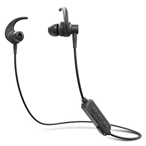 ADL Footloose X4 Wireless Stereo Bluetooth Earphone with Mic/Deep Bass/Water Resistant/Bluetooth V 5.0 /Shark Fin Ear Hook Design Sports Earphones (Black)