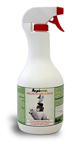 AGRINOVA Ungeziefer-frei FLÜSSIG -- 1 Liter Gebrauchsfertiges Spritzmittel aus hochreiner amorpher Kieselgur gegen Insekten, Milben, Wanzen, Flöhe etc. --- EU-Biozid-konform