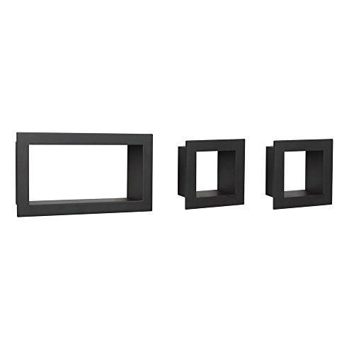 John Sterling Cadre décoratif 3 pièces Motif Cube Noir