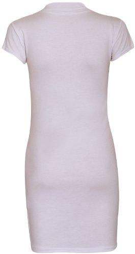 Purple Hanger - Tunique Longue Robe Courte Femme Manche Courte Encolure Montante Extensible Crème