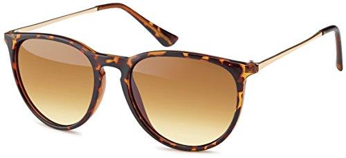Vintage Sonnenbrille im angesagtem 60er Style mit trendigen bronzefarbenden Metallbügeln Brillentrends 2014 (leopardenmuster_Verlaufsglas)