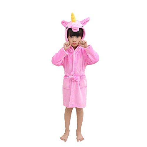 Rgtopone accappatoio morbido per bambini unicorno pigiameria in pile con cappuccio vestaglia lussuosa caldo indumenti da notte comodi carino loungewear vestaglia
