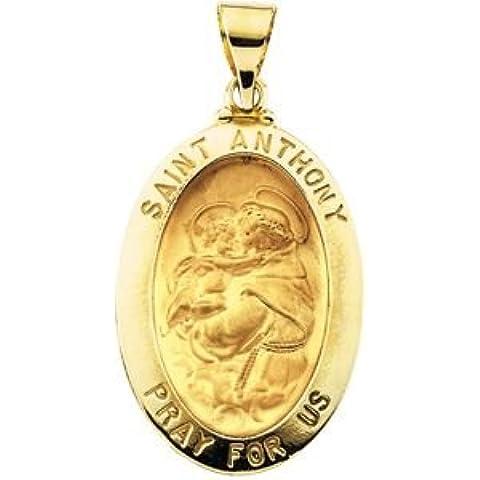 14K Giallo Oro Hollow ovale di San Antonio Medaglia 23x 16mm