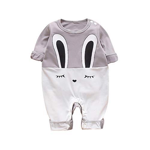 WFRAU Baby Strampler Jungen Mädchen Karikatur Lange Ärmel Hase Gedruckt Overalls Schlafanzug Säugling Spielanzug Baby-Nachtwäsche Hosen Tops Jumpsuit Outfit Bodysuit Tops
