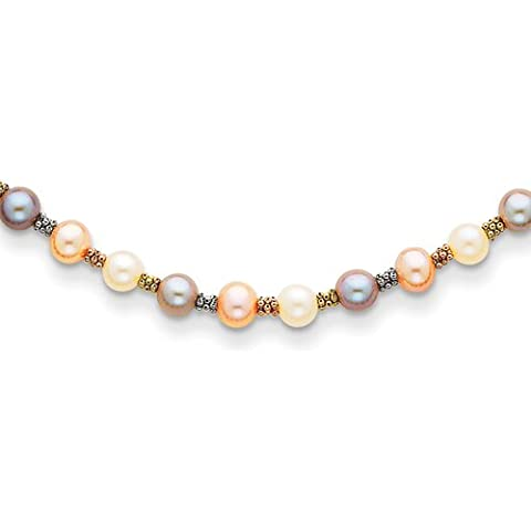 Oro 14K Tri Colore collana di perle d' acqua dolce, Lobster Claw–46centimetri - 14k Tri Colore Perle