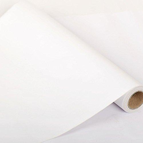 Zhzhco Verdickung Pvc Selbstklebend Wallpaper Wallpaper Flache Ebene Rustikales Schlafzimmer Wohnzimmer Hintergrund Weiß 45Cm*10M