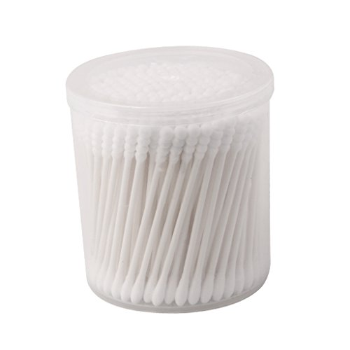 Lot de 200pcs Cotons-tiges à Bout Rond Poignée de Papier Applicateur de Maquillage 7.5cm