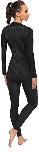 Merry Style Donna Biancheria Funzionale Mutandoni plus Camicia a maniche lunghe Termo attivo 60u10u20 Nero