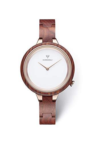 KERBHOLZ Holzuhr - Classics Collection Hinze analoge Quarz Uhr für Damen, Gehäuse...