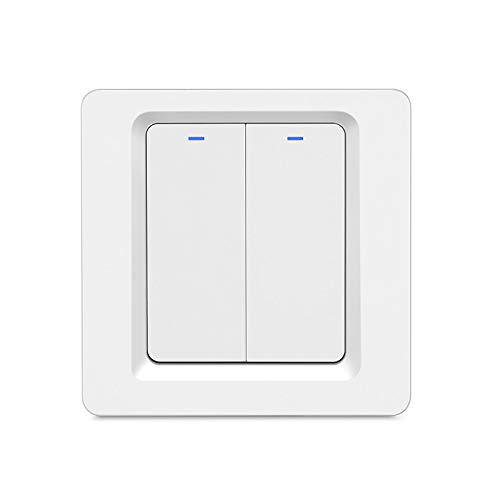 MOES WiFi Smart Lichtschalter Druckknopf Smart Life/Tuya APP Fernbedienung Funktioniert mit Alexa Google Home für die Sprachsteuerung (2 Gang Smart Switch)