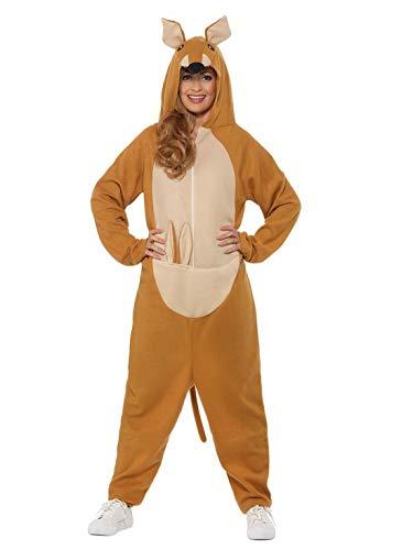 Plüsch Känguru Kostüm - Luxuspiraten - Damen Frauen Kostüm Plüsch Känguru Kangaroo Fell Einteiler Onesie Overall Jumpsuit, perfekt für Karneval, Fasching und Fastnacht, L, Braun