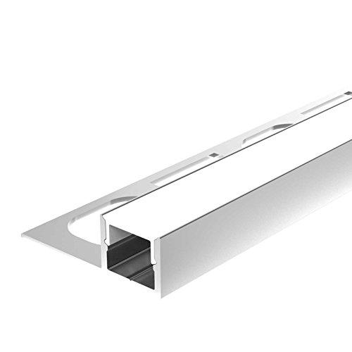 2m Aluprofil MOLA (MO) 2 Meter Aluminium Trockenbau-Profil Fliesen Leiste eloxiert für LED Streifen Abdeckung-Schiene milchig-weiß (opal) und Endkappen