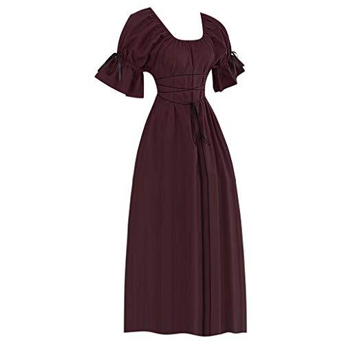 Cuteelf Damen Mittelalter Kleid mit Glockenärmeln Mittelalter Party Kostüm Langer Rock Vintage Kurzarm Blütenblatt Rundhals Kostüm Cosplay Kleid Retro Style Prinzessin Kleid