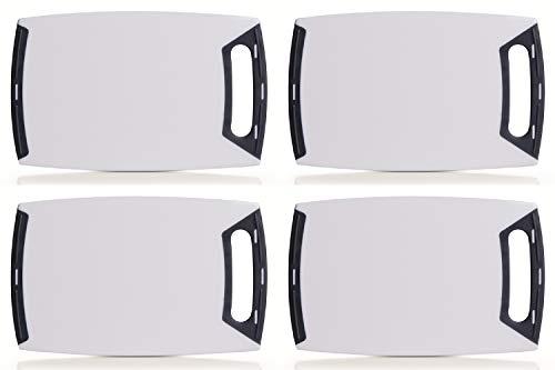 4er Set Schneidebrett eckig mit Griff, Kunststoff weiß/grau, in 3 Größen lieferbar, Servierbrett, Tranchierbrett, Zeller (4X klein 25x15cm)