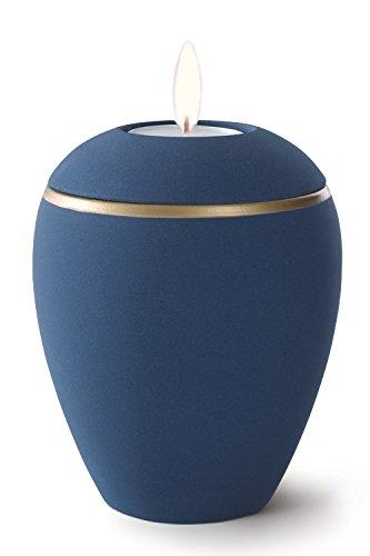 Keramik Kerzenhalter Verbrennung Asche Urne–Marine Blau