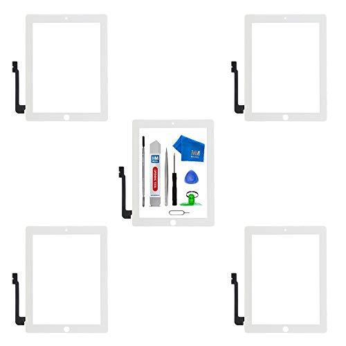 MMOBIEL 5er Pack Digitizer Display kompatibel mit iPad 3 (Weiss) 9.7 Inch Ersatzteil inkl Werkzeugset und Anleitung - Pack Plektren