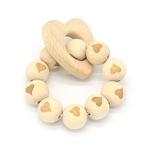 1PC Baby-Holz Molar Armband natürlichen Rohstoff Baby-Rassel Beißring Sicherheit Baby Zähne Spielzeug für Säuglings- Supplies (Herz) (Baby-rassel Natürliche)