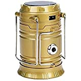ZZ ZONEX Solar Emergency Rechargeable Night Light Travel Camping Lantern with USB Mobile Charging Point, (Small, Black, Blue and Golden)