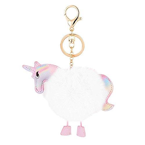 Weiße Pom Pom Keychain (Kissweet Cute Plüsch Ball Schlüsselanhänger Einhorn Regenbogen Pom Pom Schlüsselbund Für Beutel Geldbörse Anhängeranhänger(Einhorn-weiß))