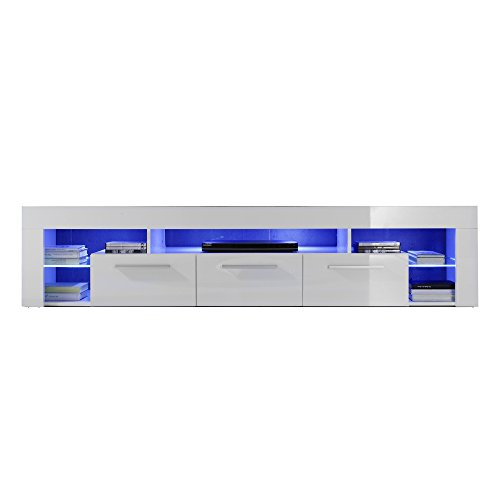 Maisonnerie 1475-854-01 Score Meuble TV Bois Blanc 200,0 x 44,0 x 44,0 cm