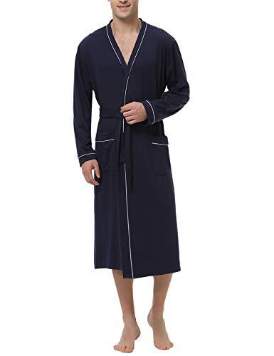 Sykooria Hommes Peignoirs de Bain en Tricot 100% Coton Casual l'hôtel Spa Sauna Vêtements de Nuit avec 2 Poches Manches Longues, Marine, M