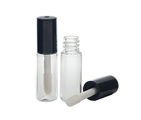 12 PCS 3ML mignon Black Cap bouchon de brosse à lèvres réutilisable à lèvres en vrac bouteille de réservoir DIY