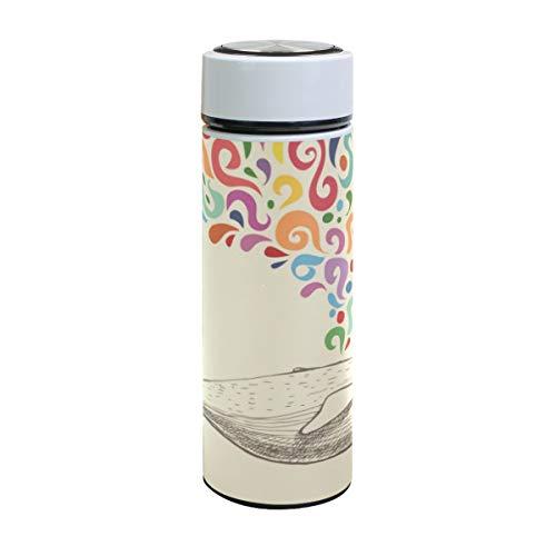 ISAOA Wal mit bunten abstrakten Springbrunnen Edelstahl Wasserflasche & Flasche, 500 ml vakuumisolierte Trinkflasche für Outdoor-Sport, Wandern, Laufen