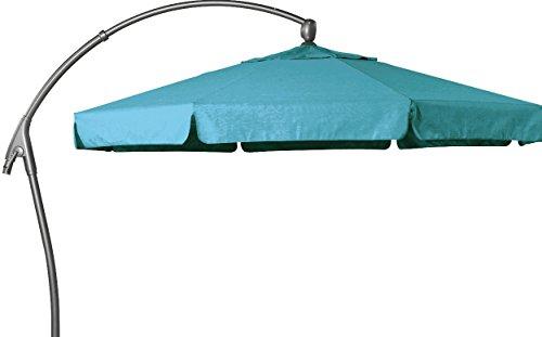 Hartman Aluminium Parasol déporté 350cm Scope Bleu clair parasol Protection solaire aluminium Textile Parasol